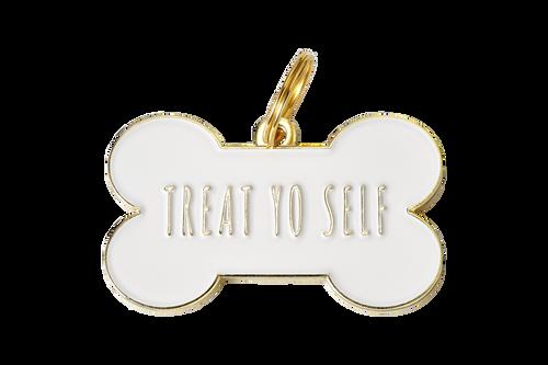 Pet ID Tag - Treat Yo Self - White