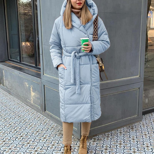 Casual light blue long parkas Warm hooded
