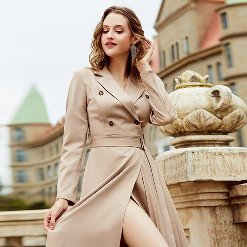 Casual suit collar women's dress Long sleeve