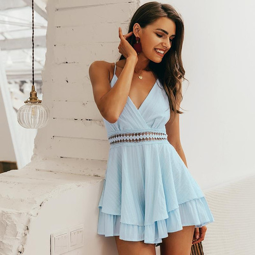 Sexy v-neck playsuit Hollow out waist spaghetti strap