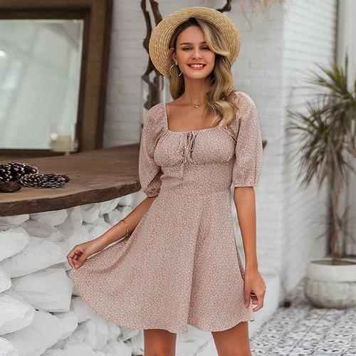 Summer beach chiffon dresses square collar dress
