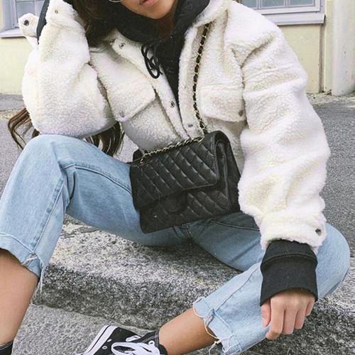 White buttons fashion faux fur coat pocket black