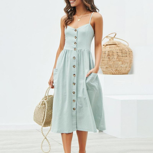Elegant button Pocket polka dot cotton midi dress