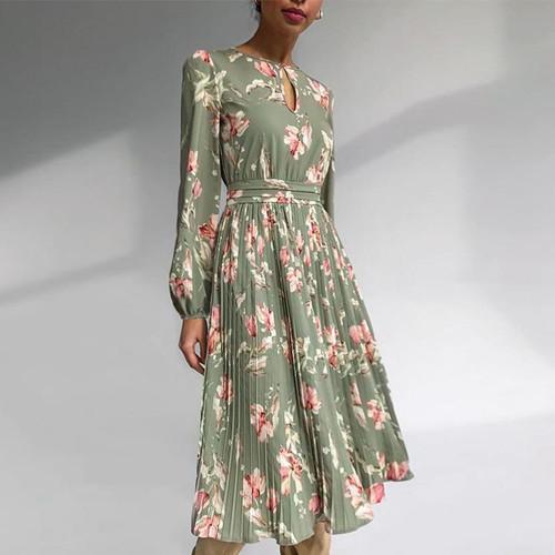 Elegant floral print long dress round neck long sleeve ruffled