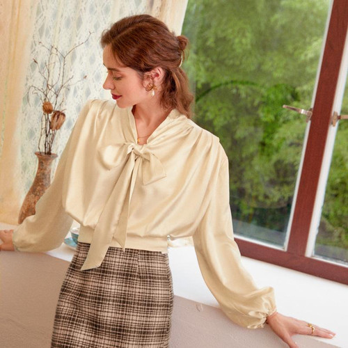 Casual solid Apricot long sleeve blouse shirt w/neck tie