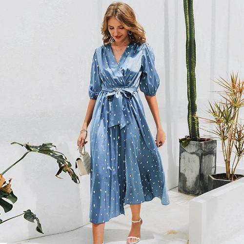 Polka dot dress puff sleeve wrap maxi dress