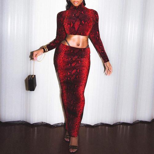 Animal print 2pc suit long dress turtleneck long Red