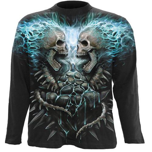 FLAMING SPINE - Allover Longsleeve T-Shirt Black