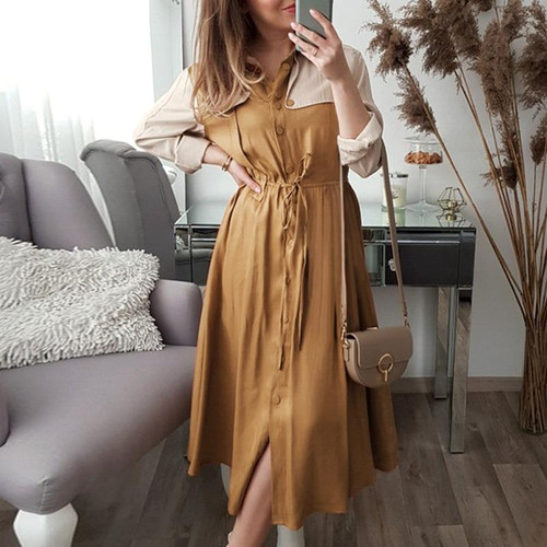 Elegant Khaki mid waist long sleeve dress