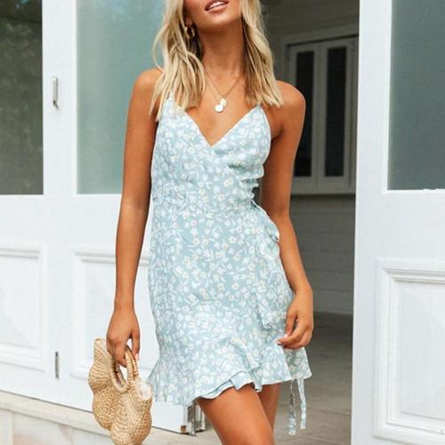 Boho beach summer casual wrap dresses