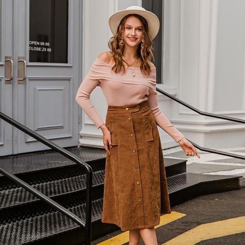A-line corduroy skirt vintage solid female midi