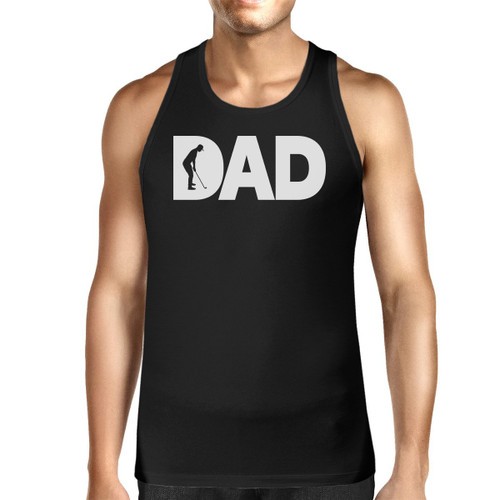 Dad Golf Men's Black Cotton Tank Top Funny Graphic