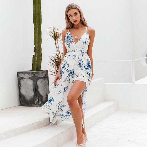 Beach v neck floral dress Spaghetti straps high waist