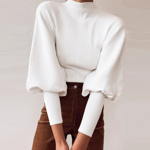 Autumn winter knitted sweater High collar