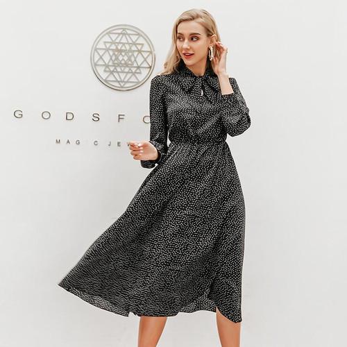 Elegant polka dot women's dress Lantern sleeve dress