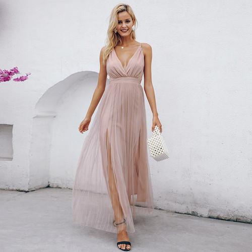 Mesh pink lace dress Elegant v neck evening maxi dress