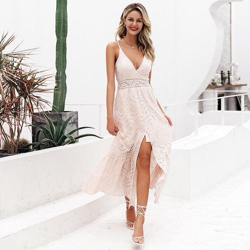 Embroidery white sexy summer dress