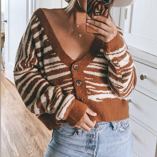 Brown stripe cardigan off shoulder