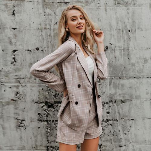 2pc Women's plaid blazer suit Double breasted uniquely designed
