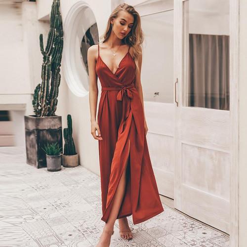 Sexy floral print jumpsuits V neck split spaghetti