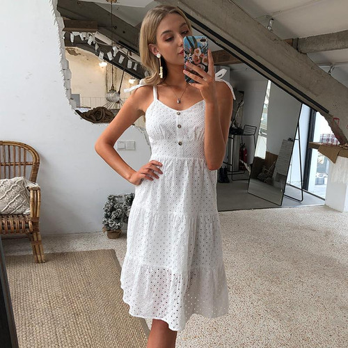 Beach casual white robe dress bow shoulder embroidery