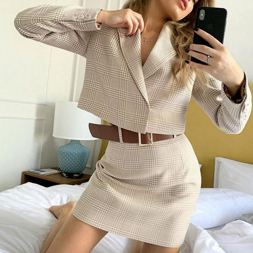 2pc casual plaid women's dress elegant button skirt