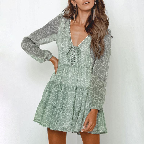 Chiffon Green Lace Up Winter Dress Casual