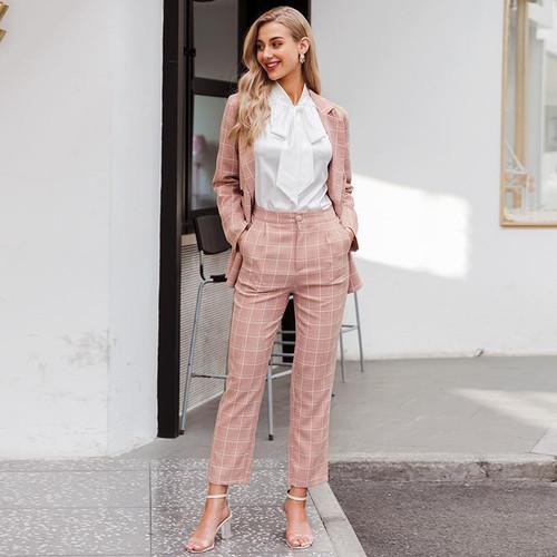Plaid women's blazer suits Long sleeve 2pc blazer pants set
