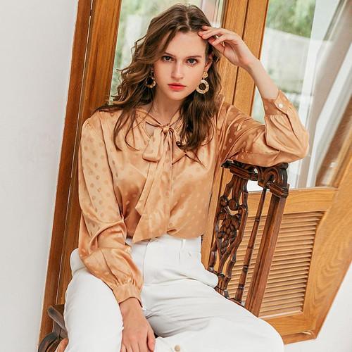 Bow tie blouse shirt Long sleeve print polka dots