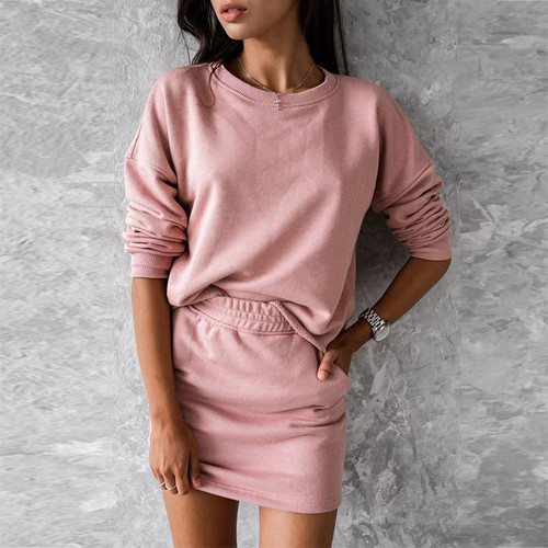 Casual solid color 2pc Fashion long sleeve short skirt