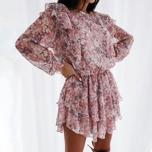 Floral print dress elegant puff sleeve a-line chiffon