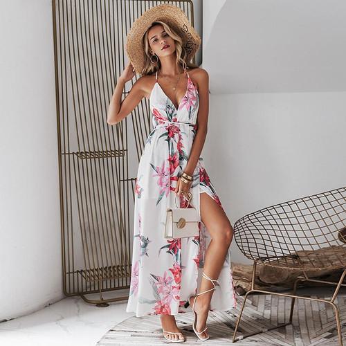 Backless boho floral print long dress chiffon sexy summer dress