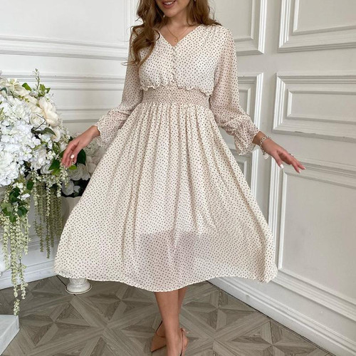 Casual flare sleeve dress Elegant V-neck Polka Dot