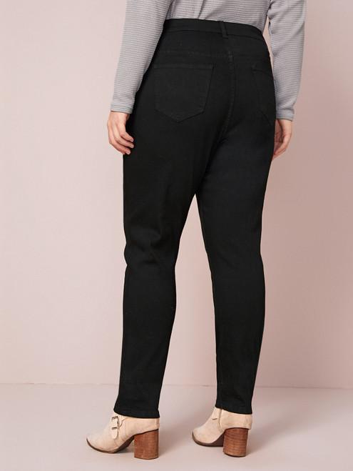 Plus Black Wash Button Fly Jeans