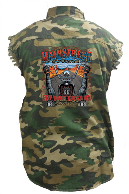 Men's Camo Sleeveless Denim Shirt Main Street Of America