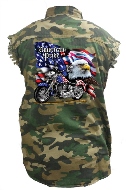 Men's Camo Sleeveless Denim Shirt USA Flag American Pride Bald Eagle