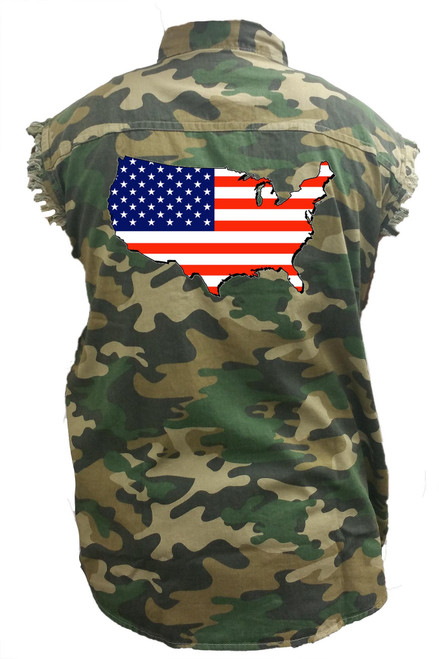 Men's Camo Sleeveless Denim Shirt USA Flag