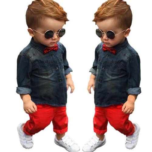 1 Set Kids Toddler Boys Handsome Denim