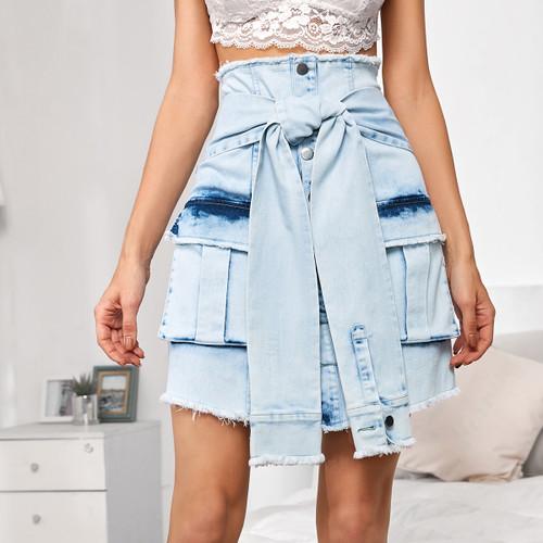Raw Trim Pocket Patched Belted Denim Skirt