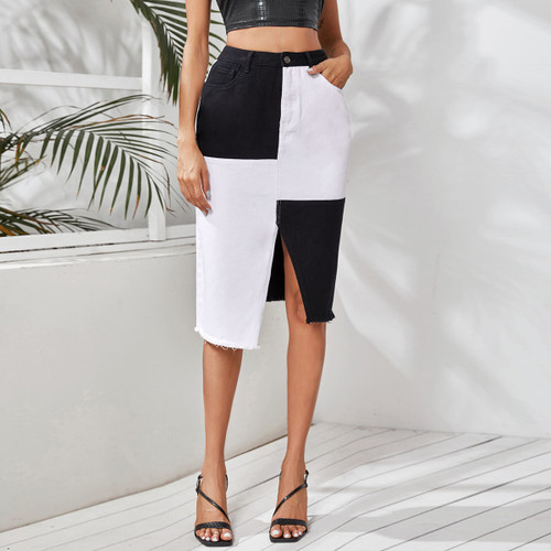Asymmetrical Raw Hem Spliced Denim Skirt