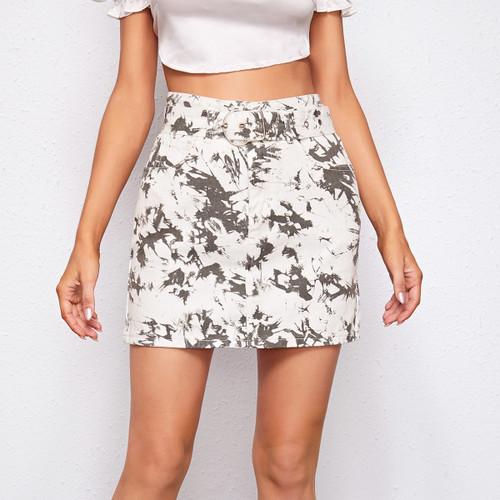 Slant Pocket Belted Tie Dye Denim Skirt