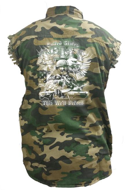 Men's Camo Sleeveless Denim Shirt United States Army