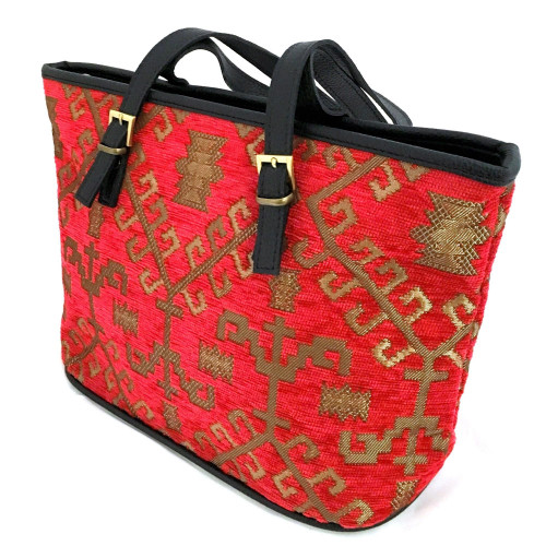 "13"" Tote Bag in Red & Gold Design"