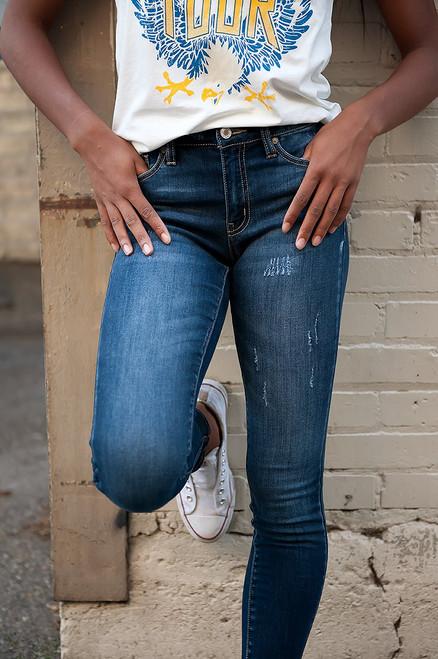 Lightly Distressed Indigo Jeans
