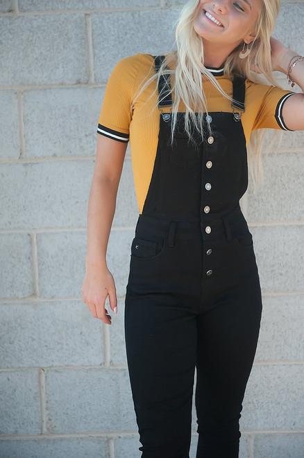 Black Denim Overalls for Women