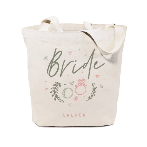 Floral Personalized Name Bride Wedding Cotton Canvas Tote Bag