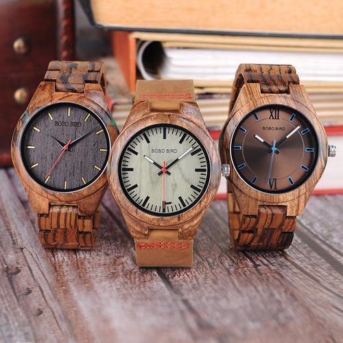 Men's Quartz Watch Unique Zebrawood