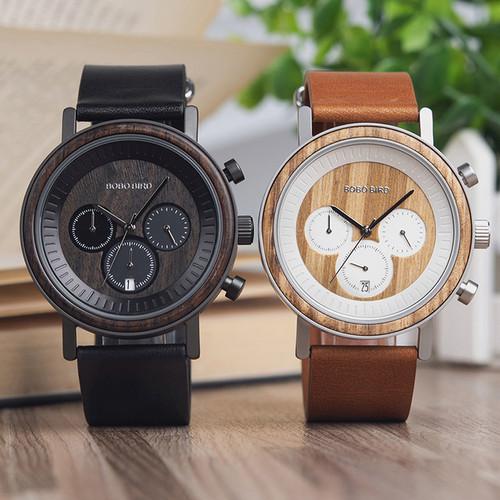 Wooden Stainless Steel Men's Watch
