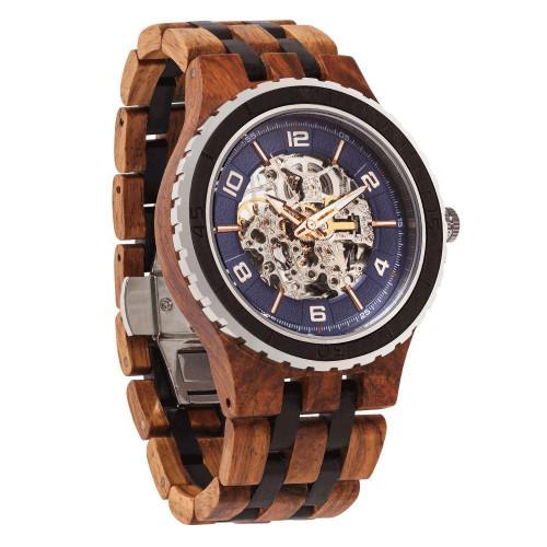 Men's Premium Self-Winding Transparent Body Ambila Ebony Wood Watches