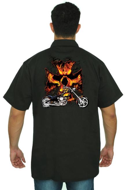 Men's Mechanic Work Shirt Motorcycle Flames Cross